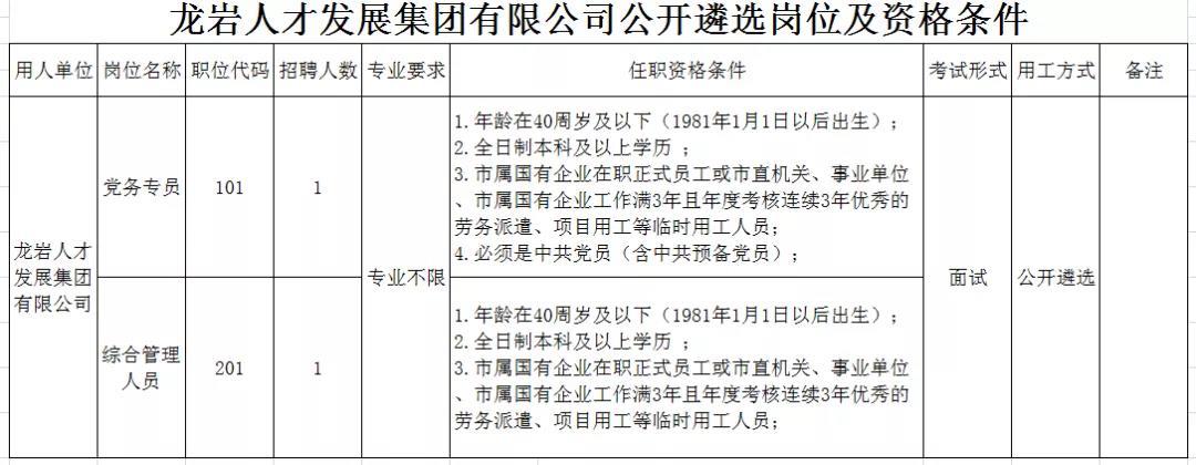 龙岩人才发展集团有限公司公开遴选工作人员的公告